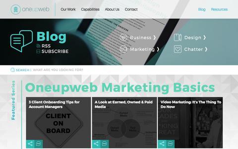 Screenshot of Blog oneupweb.com - Oneupweb Marketing : Digital Marketing Blog - Industry Insights - captured Aug. 12, 2016