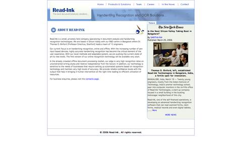 Screenshot of Home Page read-ink.com - Online and Offline Handwriting Recognition Engine - Read-ink - captured Oct. 7, 2014