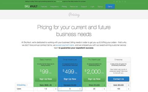 Screenshot of Pricing Page skuvault.com - SkuVault Warehouse Management System · Pricing - captured Oct. 31, 2016