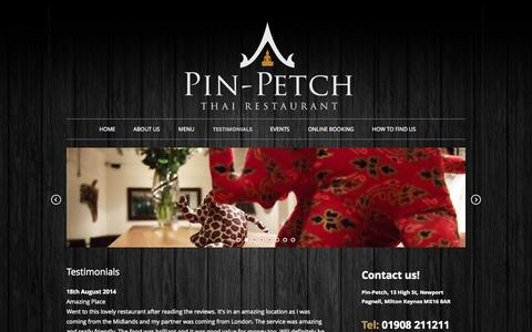 Screenshot of Testimonials Page pinpetchthairestaurant.co.uk - Testimonials - Pin Petch Thai Restaurant Newport Pagnell - captured Oct. 2, 2014
