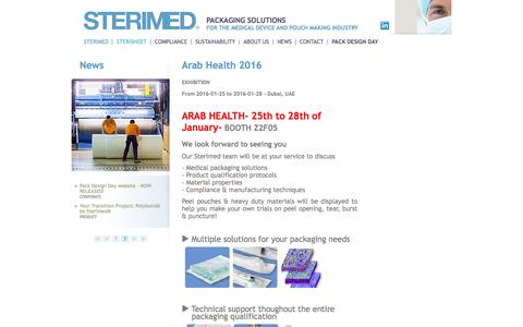 Screenshot of Press Page sterimed.fr - Arab Health 2016 | STERIMED - Arjowiggins Healthcare - captured Feb. 3, 2016