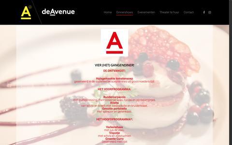 Screenshot of Menu Page de-avenue.nl - Menu - De Avenue - captured Oct. 25, 2017