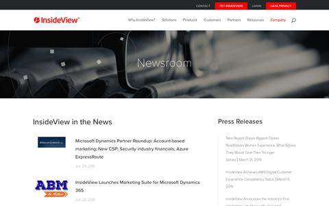 Screenshot of Press Page insideview.com - Newsroom and Press Releases | InsideView - captured April 4, 2019