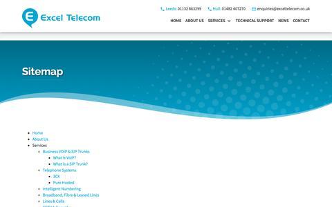 Screenshot of Site Map Page exceltelecom.co.uk - Sitemap - Excel Telecom - captured Sept. 30, 2018