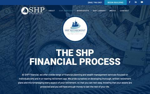 Screenshot of Services Page shpfinancial.com - SHP Financial – Our Financial Services – SHP Financial - captured April 20, 2019