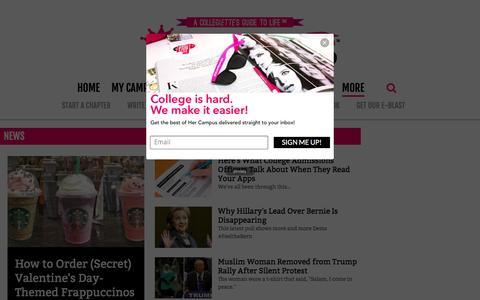 Screenshot of Press Page hercampus.com - News   Her Campus - captured Jan. 13, 2016