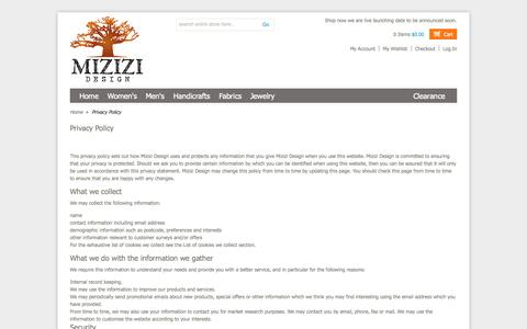 Screenshot of Privacy Page mizizidesign.com - Privacy Policy - captured Oct. 7, 2014