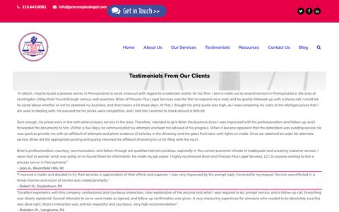 Screenshot of Testimonials Page processpluslegal.com - Testimonials | Process Plus Legal - captured Sept. 30, 2018