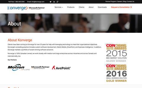 Screenshot of About Page konverge.com - Custom Software, Custom Software Solutions| Konverge - captured Nov. 27, 2016