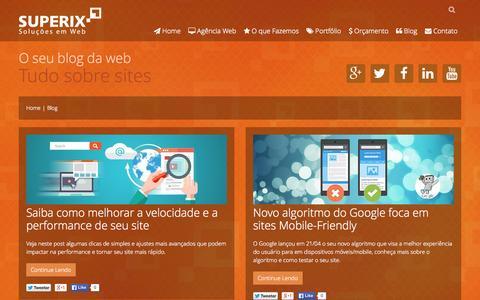 Screenshot of Blog superix.com.br - Blog - Tire todas as suas dúvidas sobre o mundo dos sites - Superix - captured Aug. 4, 2015