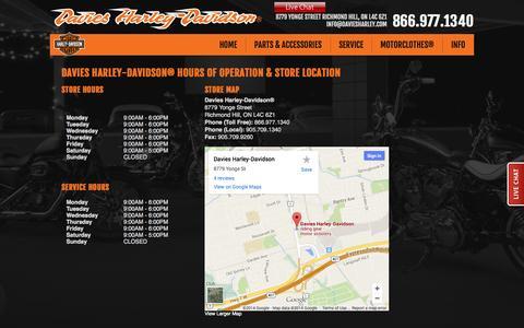 Screenshot of Hours Page daviesharley.com - Hours and Location | Davies Harley-Davidson® | Richmond Hill Ontario - captured Oct. 5, 2014