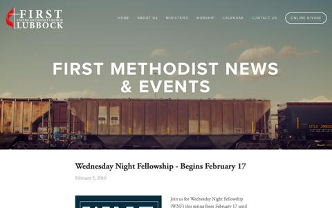Screenshot of Press Page fumc.com - News & Events — First United Methodist Church - captured Feb. 10, 2016
