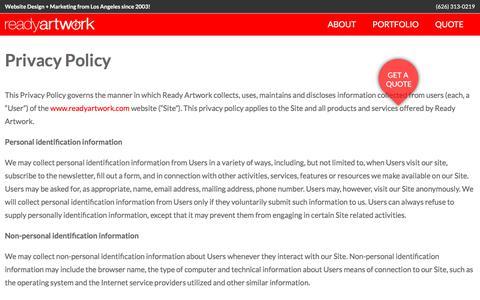 Privacy Policy | Ready Artwork