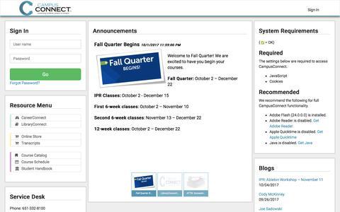 Screenshot of Login Page ipr.edu - Log in | CampusConnect - captured Oct. 4, 2017