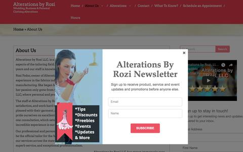 Screenshot of About Page alterationsbyrozi.com - About Us | Alterations by Rozi - captured July 29, 2018