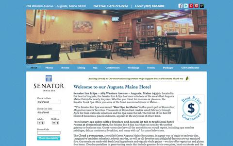 Screenshot of Home Page senatorinn.com - Augusta Maine Hotel - Senator Inn Spa and Restaurant - Maine Getaway - captured June 24, 2016