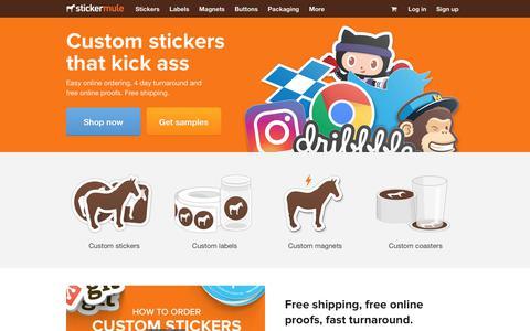 Screenshot of Home Page stickermule.com - Sticker Mule | Custom stickers that kick ass - captured Feb. 9, 2020