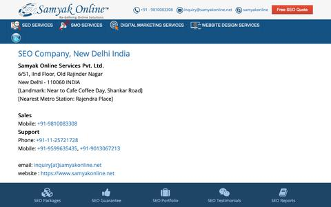Screenshot of Contact Page samyakonline.net - SEO, Internet Marketing Company, New Delhi India - captured Oct. 2, 2018