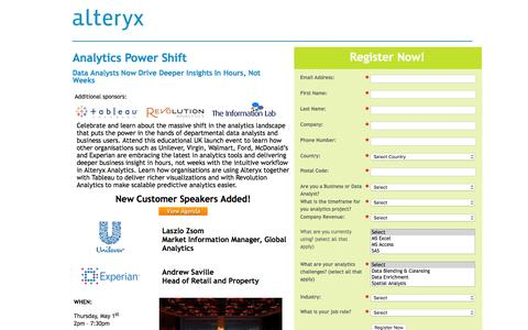 Screenshot of Landing Page alteryx.com - Analytics Power Shift - captured May 10, 2016