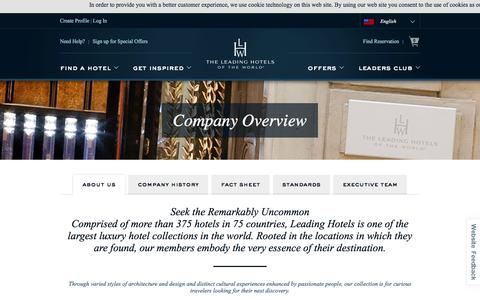 Screenshot of About Page lhw.com - About Us : History, Standards and Team  : Leading Hotels of the World - captured Oct. 9, 2017