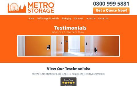 Screenshot of Testimonials Page metro-storage.co.uk - Customer Reviews Of Our London Self Storage Units | Metro Storage - captured Nov. 28, 2016