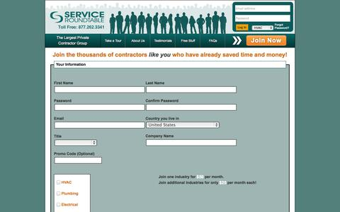 Screenshot of Signup Page serviceroundtable.com - Service Roundtable - captured Oct. 26, 2014