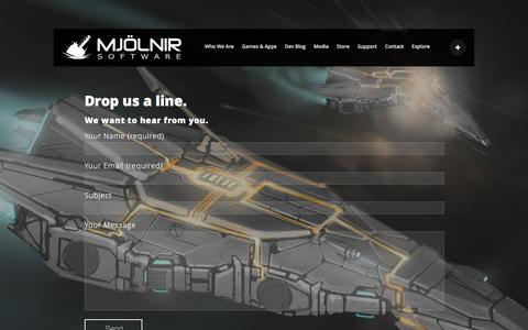 Screenshot of Contact Page mjolnirsoftware.com - Contact - Mjolnir Software - captured Feb. 21, 2016