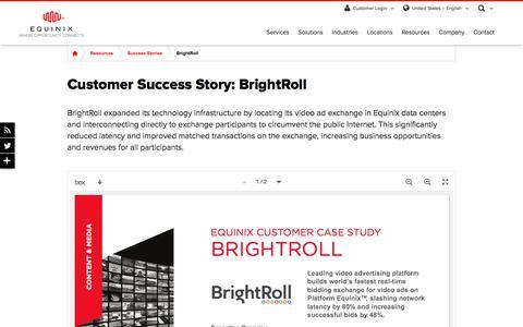 Screenshot of Case Studies Page equinix.com - Customer Success Story: Brightroll - captured Dec. 29, 2017