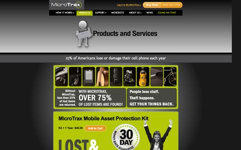 Screenshot of Products Page micro-trax.com - Products   Micro-Trax - captured Oct. 27, 2014