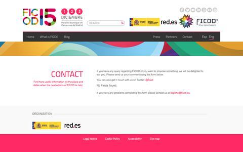 Screenshot of Contact Page ficod.es - Contact : Ficod 2015.  Foro Internacional de Contenidos Digitales #FICOD15 - captured June 30, 2017
