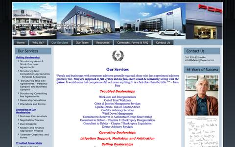 Screenshot of Services Page advisingdealers.com - Our Services - captured Nov. 20, 2016
