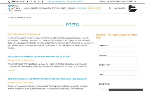 Screenshot of Press Page tradegroup.com - Press - The Trade Group - captured Feb. 18, 2020