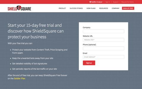 Screenshot of Signup Page shieldsquare.com - Sign up for Anti Scraping Solution ShieldSquare and block bots - captured March 22, 2016
