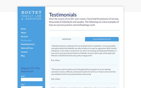 Screenshot of Testimonials Page boutetfamilylaw.com - Testimonials - Boutet Family Law and Addiction - captured Aug. 3, 2018