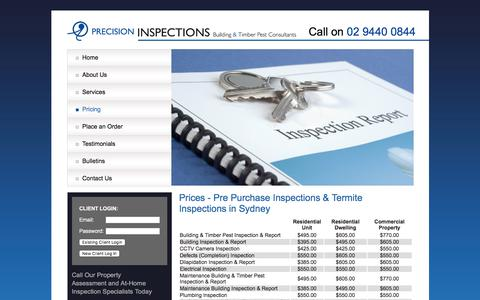 Screenshot of Pricing Page precisioninspections.com.au - Precision Inspections Services - captured Aug. 21, 2017