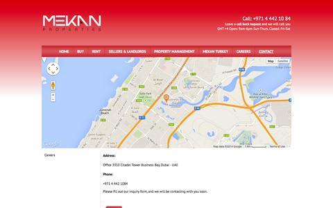 Screenshot of Contact Page mekanproperties.com - Contact Mekan Dubai Today - Contact Us - captured Sept. 30, 2014