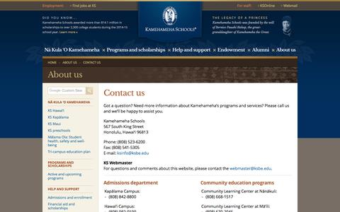 Screenshot of Contact Page ksbe.edu - Contact us     | Kamehameha Schools - captured May 9, 2017