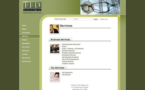 Screenshot of Services Page ffdcpa.com - Little Rock, AR Accounting Firm   Services Page   Frazee, Fox & Dodge, Ltd. - captured Oct. 6, 2014