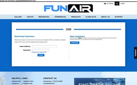 Screenshot of Login Page funair.com - FunAir Inflatables Login - captured Sept. 30, 2014