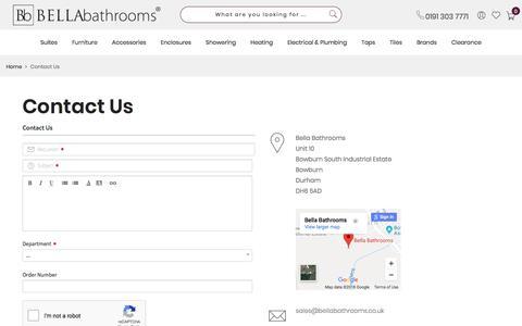 Screenshot of Contact Page bellabathrooms.co.uk - Bella Bathrooms - Contact Us - captured Aug. 1, 2018