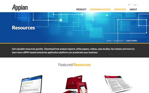 Screenshot of Case Studies Page appian.com - Home - Resources - captured Oct. 28, 2014