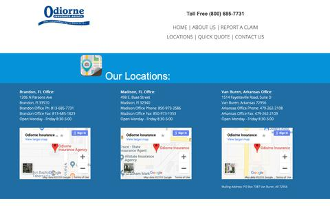 Screenshot of About Page Locations Page odiorneinsurance.com - Fast Insurance Quotes | Odiorne Insurance  » Office Locations - captured Nov. 16, 2018