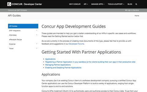 Screenshot of Developers Page concur.com - Concur Developer Portal | API Guides - captured Sept. 29, 2017