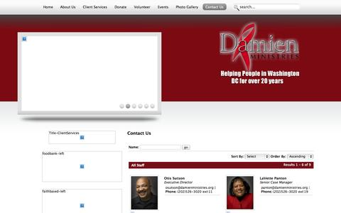 Screenshot of Contact Page damienministries.org - Contact Us - captured Sept. 30, 2014