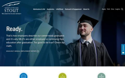 Screenshot of Home Page uwstout.edu - Ready.   University of Wisconsin - Stout - captured Oct. 18, 2018