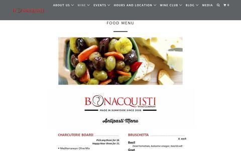 Screenshot of Menu Page bonacquistiwine.com - Food Menu - Bonacquisti Wine Company - captured Oct. 6, 2018