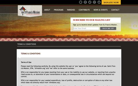 Screenshot of Terms Page sfmission.org - St. Francis Mission | Terms & Conditions - captured Oct. 26, 2017