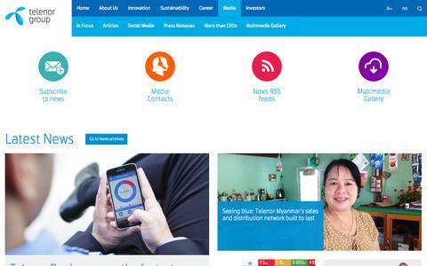 Screenshot of Press Page telenor.com - Telenor Group | Media - captured Sept. 30, 2015