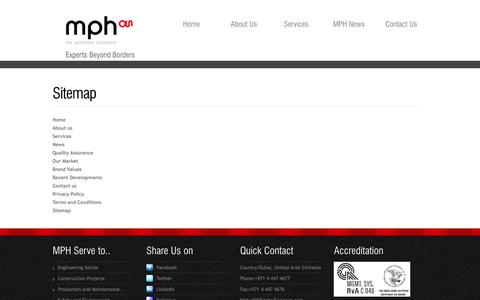 Screenshot of Site Map Page mphglobalservices.com - Sitemap of MPH Global Services Website.. MPH is an ASSYSTEM Company, United Arab Emirates. - captured Oct. 31, 2014