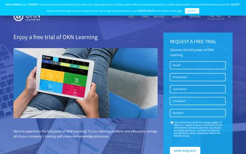 Screenshot of Trial Page oknlearning.com - Free trial of OKN Learning | OKN Learning - captured Nov. 18, 2018